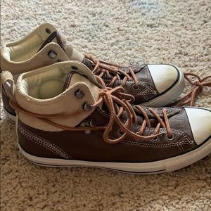 Brown Leather Suede Converse All Star M 8.5 W 10.5